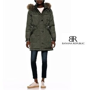 Womens Banana Republic Green Parka Fur Puffer XS
